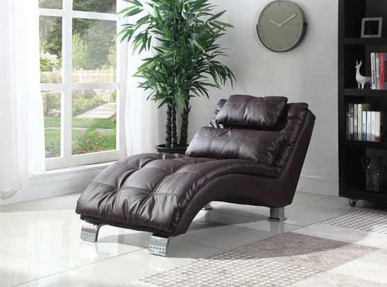 Brown vinyl leather chaise lounger chair