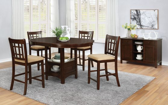 Cherry finish counter hight dining set w/ leaf