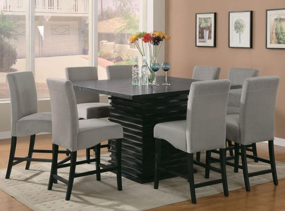 Bar height dining table in black wave pattern