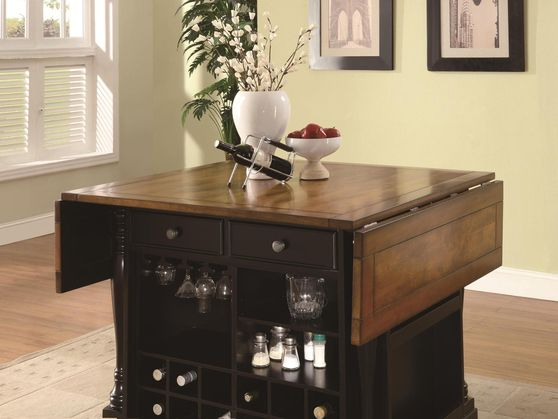 Two-Tone Kitchen Island with Drop Leaves