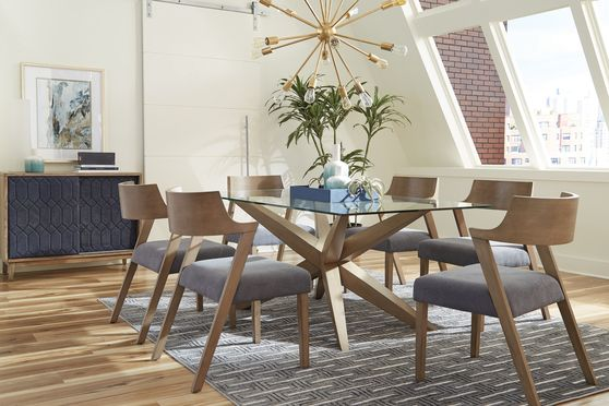 Glass top / gray oak contemporary dining table