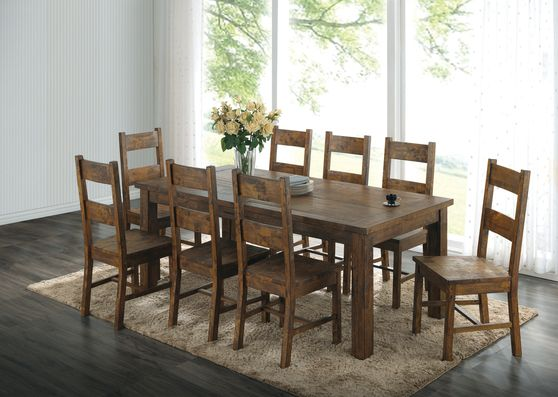 Rustic golden brown solid wood dining table