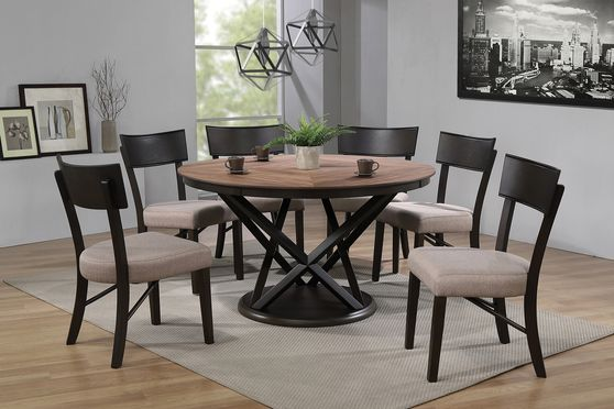 Natural walnut / black round dining table