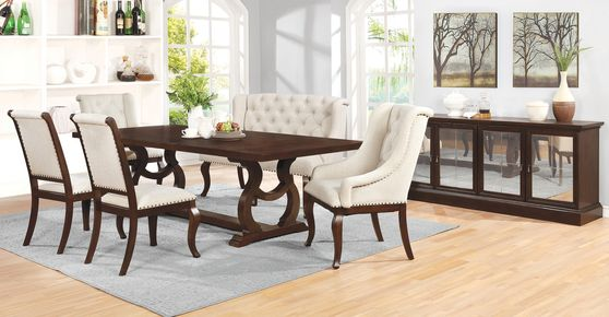 Family size extension dining table in antique java