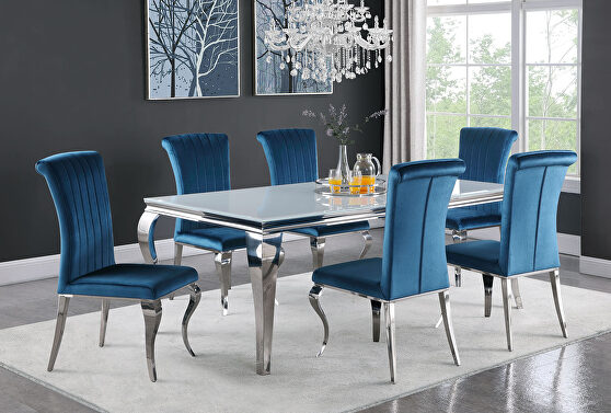 Dining table with polished chrome finished table base