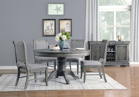 Rustic weathered gray ash finish round dining table