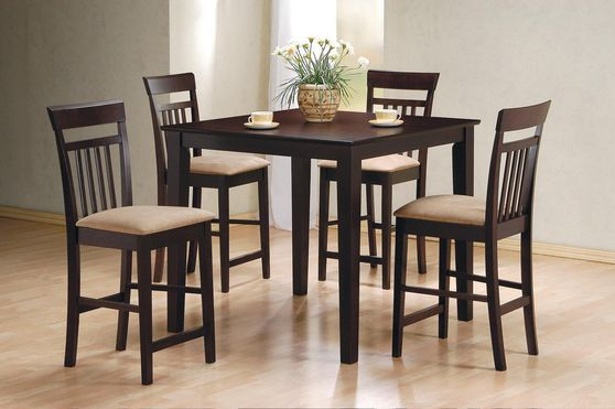 Cappuccino finish 5pcs counter height dining set