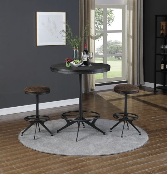 Round bar table in wire brushed black