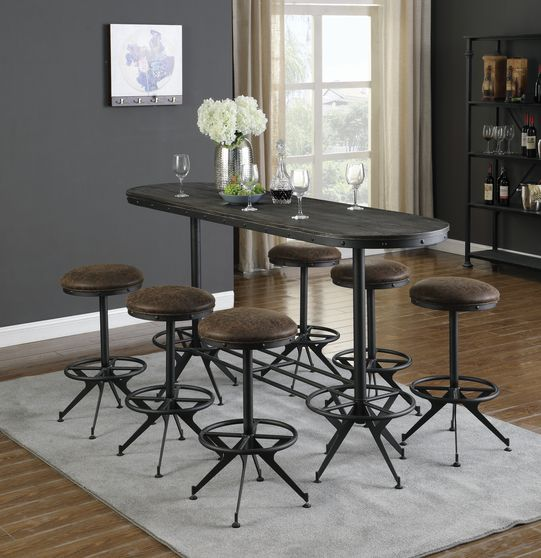 Oval bar table in wire brushed black