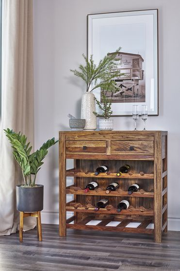 Wine cabinet in rustic sheesham wood