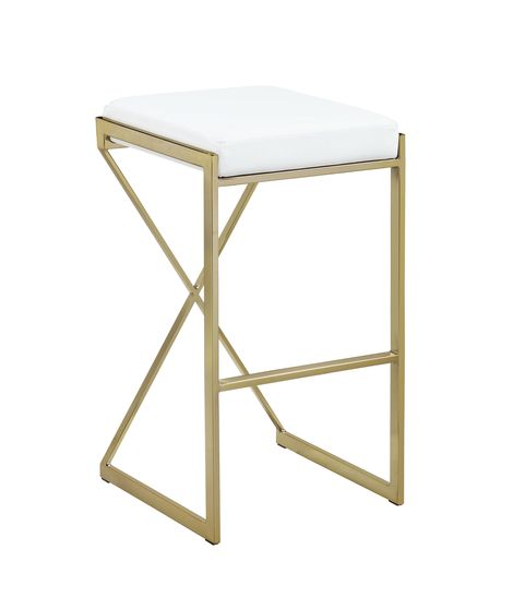 Bar stool in white leatherette / gold base182566