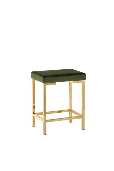 Counter height stool in green velvet