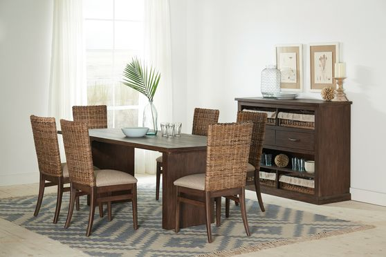 Dining table in sand blasted whiskey wood finish