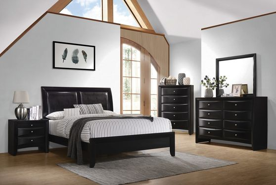 Glossy black wood finish casual style bed