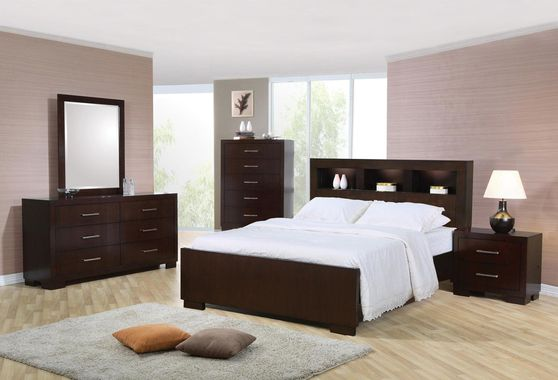 Contemporary brown bed w/ storage headboard and built in lighting