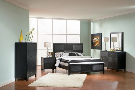 Strict design modern black wood bed