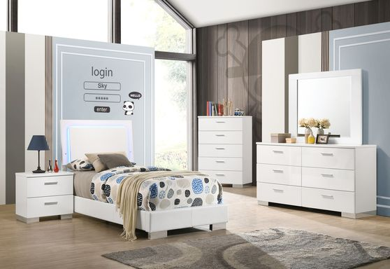 Simple and elegant white twin bed with blue LED