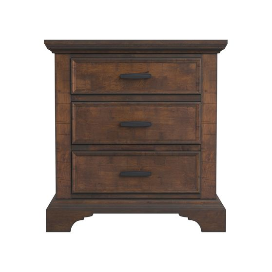 Rustic three-drawer nightstand