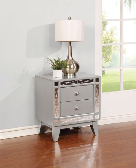 Contemporary two-drawer silver glam nightstand