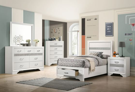 Сontemporary white twin storage bed