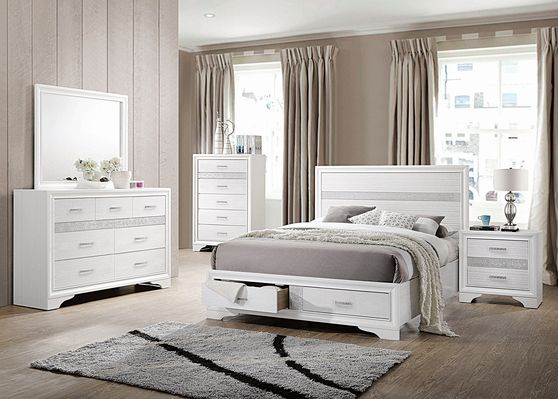Сontemporary white queen storage bed
