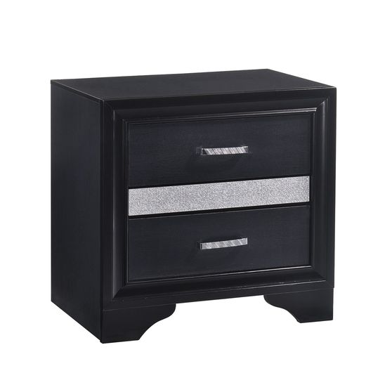 Transitional black nightstand
