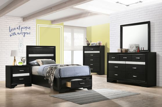 Contemporary black glam style twin bed