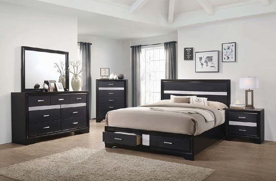 Contemporary black glam style queen bed