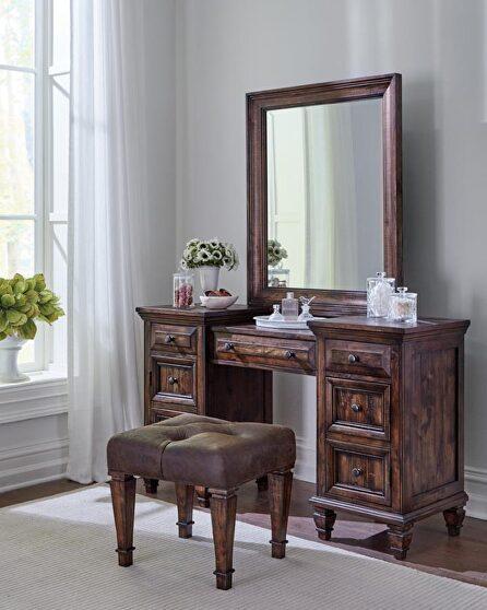 Vivid weathered burnished brown finish vanity desk