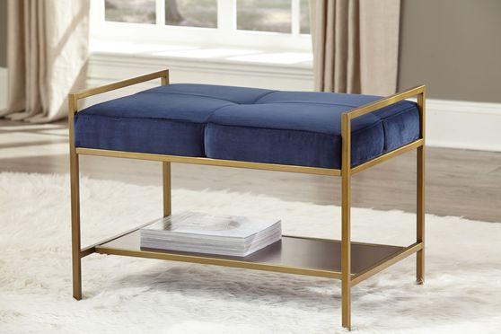 Bench in cozy blue velvet w/ gold legs