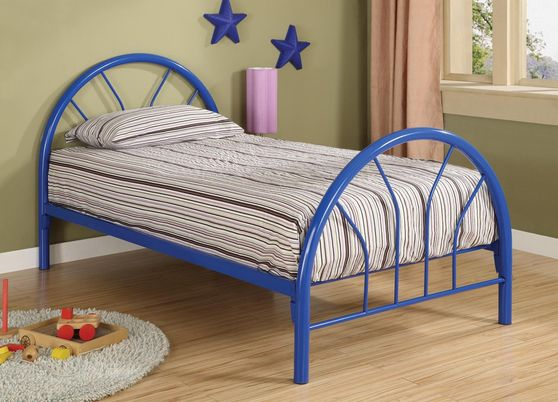 Twin youth bed in finished in blue metal