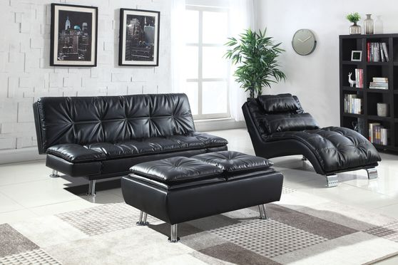Casual modern sofa bed in black leatherette