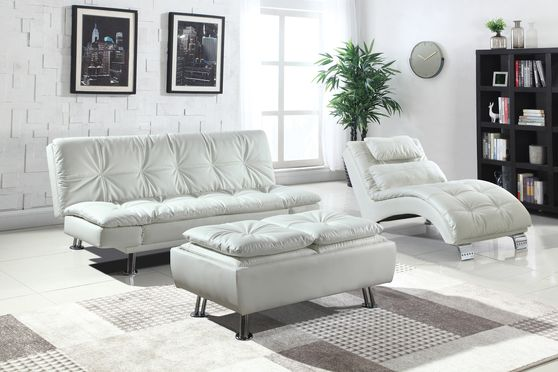 Casual modern sofa bed in white leatherette