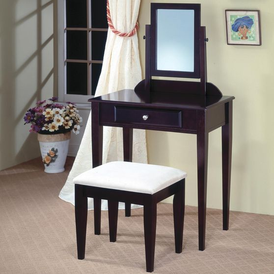 Cappuccino transitional style vanity + stool