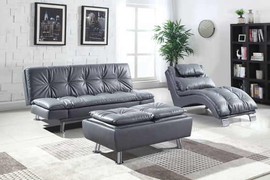 Casual modern sofa bed in gray leatherette