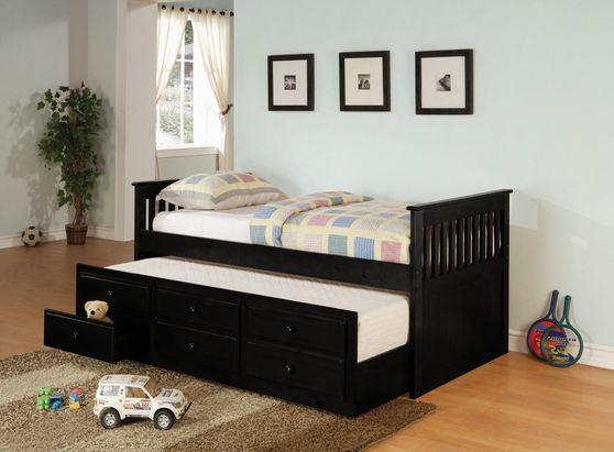 Black solid wood twin size daybed w/ trundle