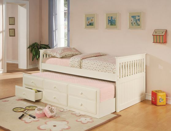 White solid wood twin size daybed w/ trundle