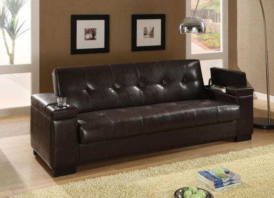 Dark brown bycast convertible sofa bed