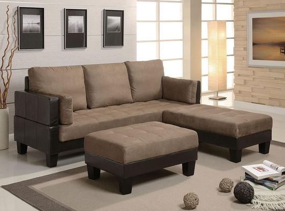 Sand beige / brown sectional sofa bed / ottoman set