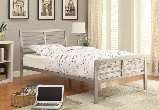 Modern silver coated metal platform twin bed
