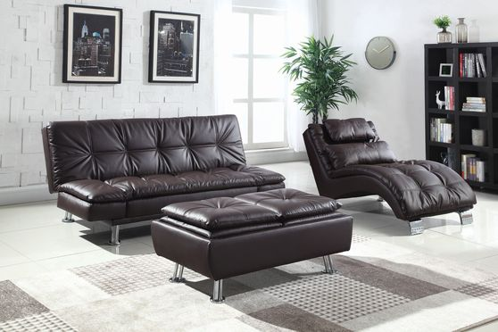 Casual modern sofa bed in brown leatherette