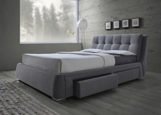 Storage bed in gray fabric w/ button design