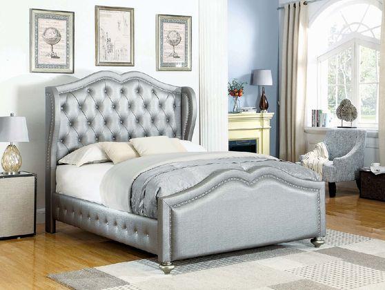 Grey upholstered tufted headboard full bed