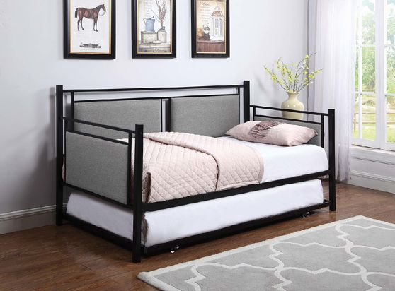 Daybed w/ trundle in gray/metal