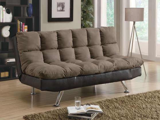 Brown padded sofa bed with chrome legs
