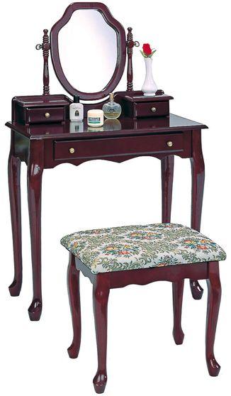 Brown red 2 pcs vanity + stool set