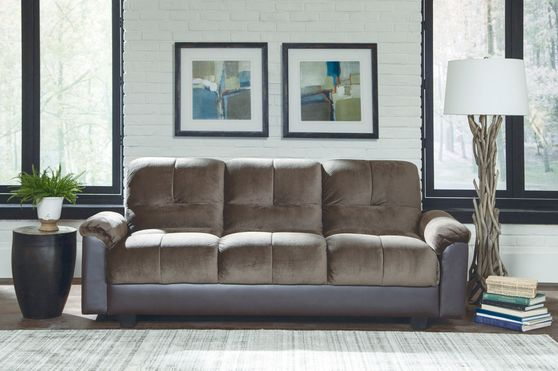 Chocolate brown velvet fabric sleeper sofa