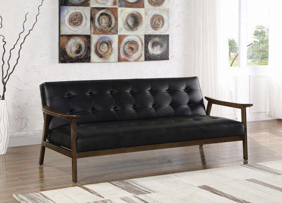 Black leatherette futon style sofa bed
