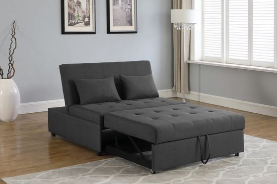 Sleeper sofa bed in gray linen-like fabric