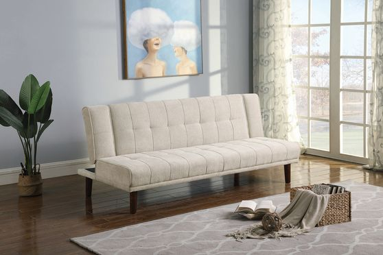 Sofa bed in beige performance chenille fabric